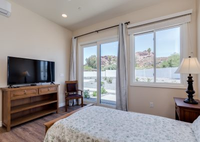 Camelback View bedroom with TV Vista Living Assisted Living Phoenix Arizona