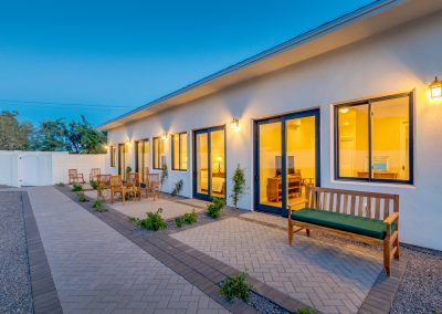 Camelback View outdoor area at night Vista Living Assisted Living Home