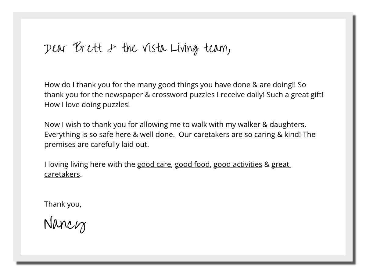 Vista Living Assisted Living Testimonial