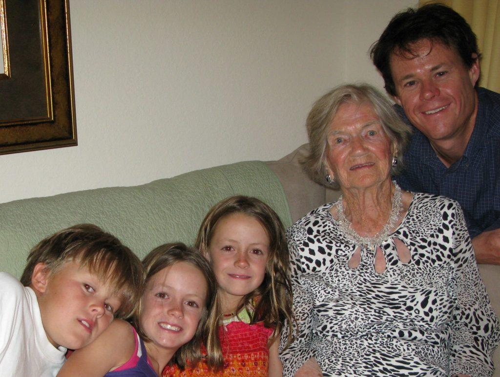 2010: Grammy and Brett's  kids at her 100th Birthday!!